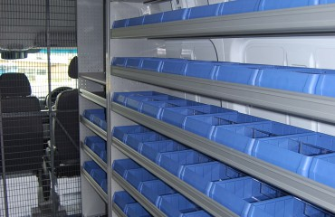 VQuip - Transforming Van Vehicles | Service Van - Shelf Bins
